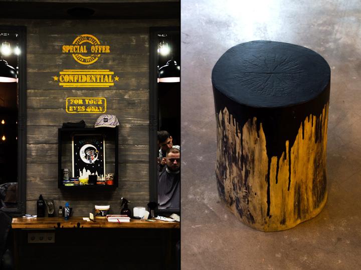 Надписи на стене и деревянный столик в парикмахерской