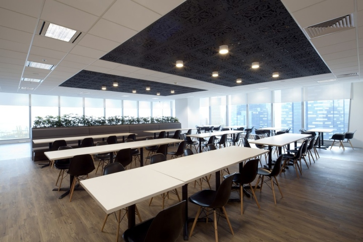 Черно-белый потолок в офисе