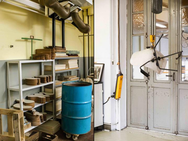 Стеллажи и рабочий прибор в офисе и мастерской