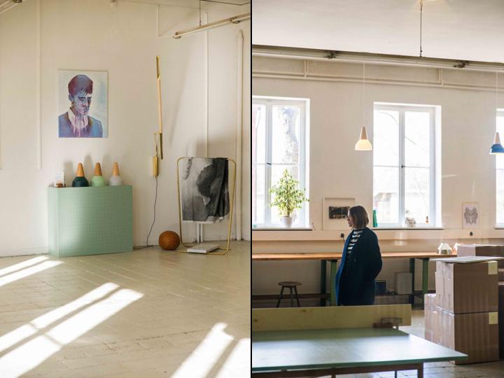 Портрет на стене и растения в офисе и мастерской