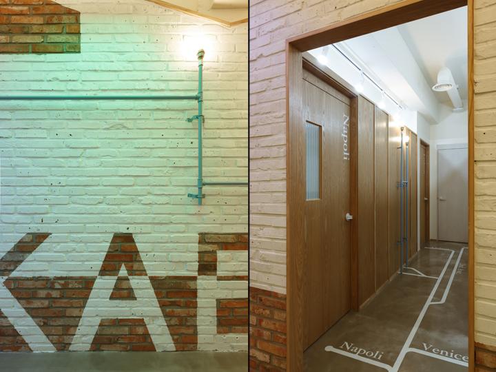 Кирпичная стена и двери в кабинеты в офисе