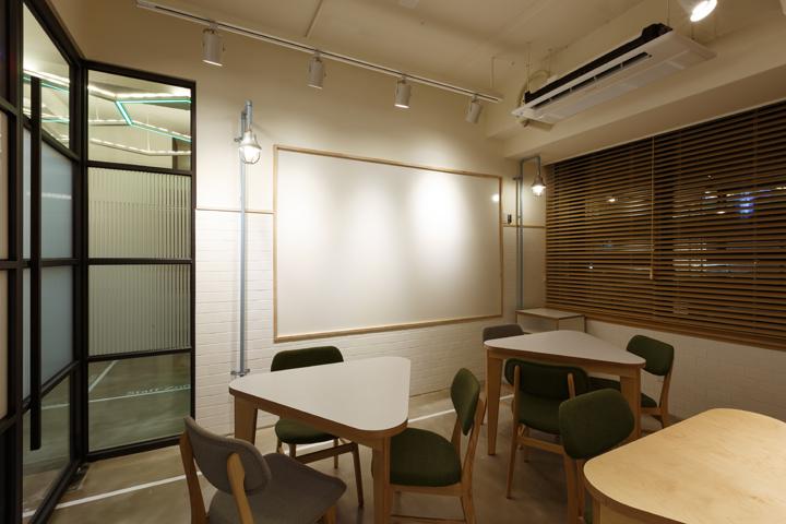 Треугольные столы в офисе