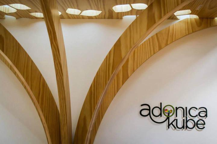 Деревянное оформление стены и потолка, со встроенной иллюминацией