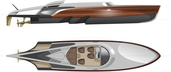 Современная лодка: внешний вид « Aeroboat» в различных проекциях. Изящество и агрессивность в одном флаконе.