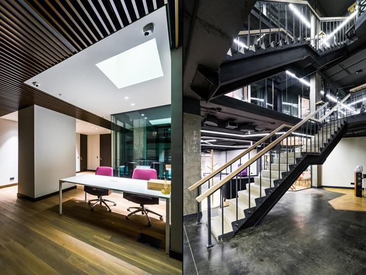 Атриум в офисе - зонирование отделов с помощью элементов декора интерьера