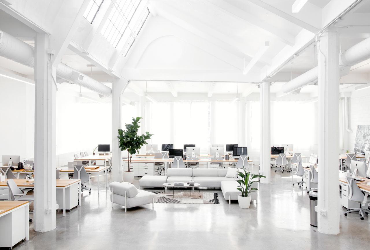 Серо-белый интерьер офиса