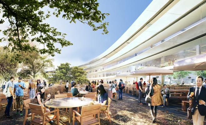Столики на улице возле будущей штаб-квартиры компании Apple