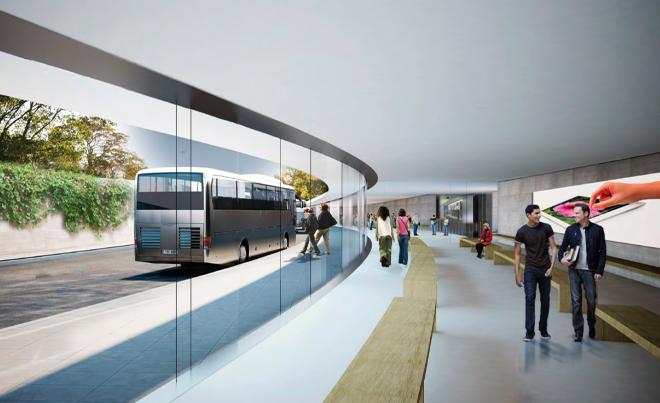 Автобус у выхода из будущей штаб-квартиры компании Apple
