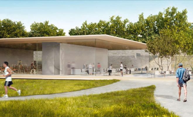 Офис со стеклянными стенами будущей штаб-квартиры компании Apple