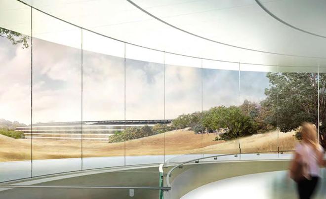 Круглая стеклянная стена будущей штаб-квартиры компании Apple