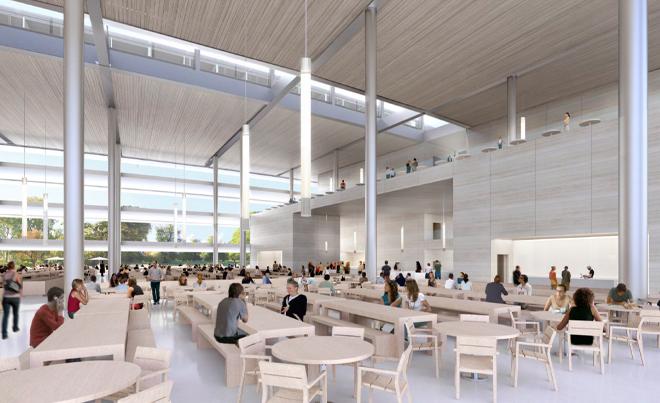 Большое помещение со столами и стульями в будущей штаб-квартире компании Apple