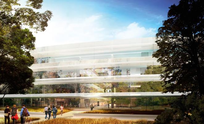 Стеклянные стены будущей штаб-квартиры компании Apple