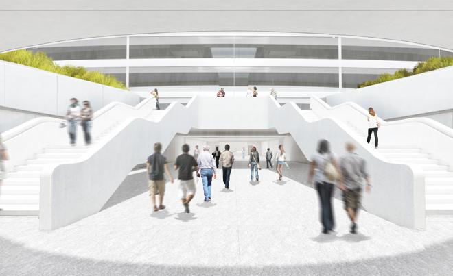 Белые межуровневые лестницы в будущей штаб-квартире компании Apple