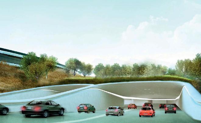 Тоннель на стоянку для автомобилей будущей штаб-квартиры компании Apple