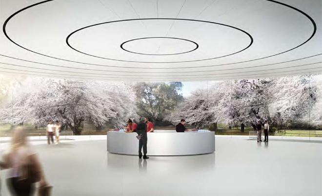 Помещение с круглыми стенами в будущей штаб-квартире компании Apple