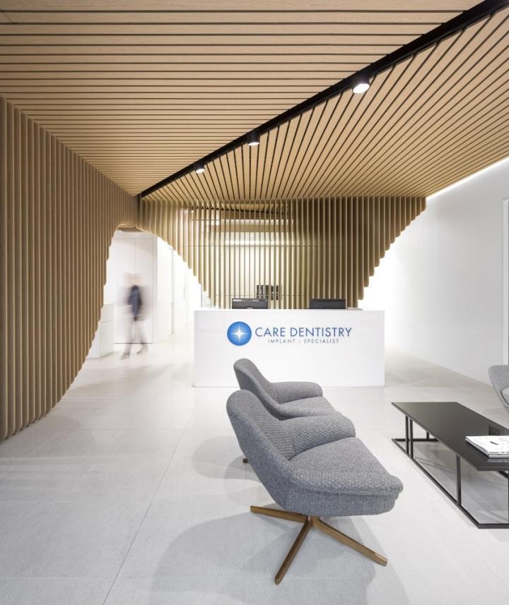 Интерьер ресепшена стоматологии Care Implant в Австралии