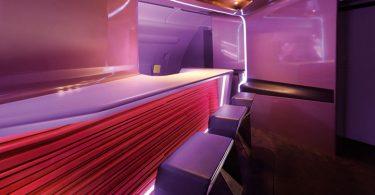 Эксклюзивный дизайн бара в самолёте VIP класса Virgin Atlantic