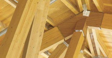 Дизайн деревянной крыши в музее