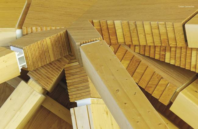Дизайн деревянной крыши: соединение шести балок в одном узле