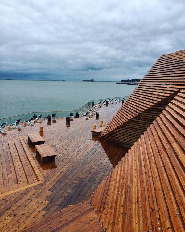 Дизайн финской сауны: фасад из досок