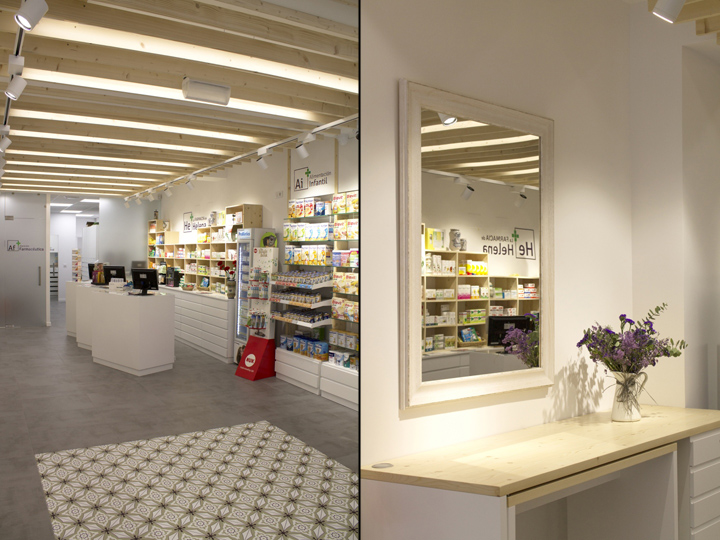 Серо-бежевый дизайн интерьера аптеки