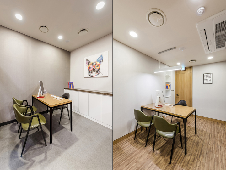 Светлый интерьер кабинетов клиники с оригинальными креслами зелёного цвета