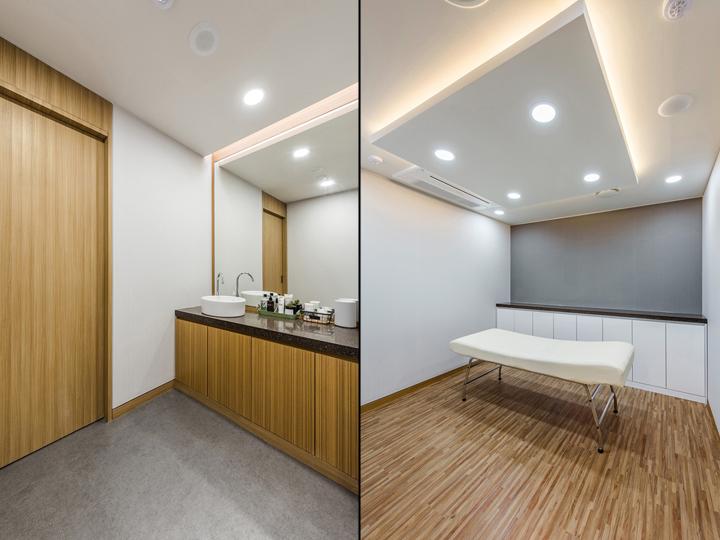 Оригинальный дизайн подвесного потолка в интерьере клиники