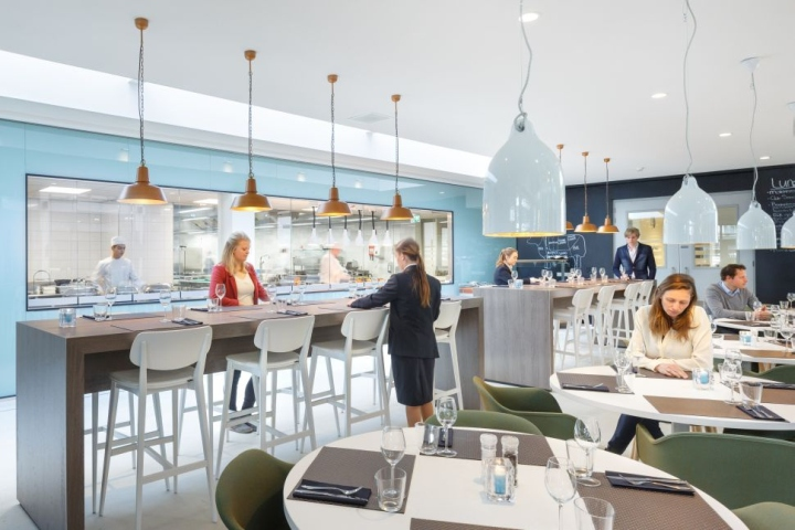 Дизайн интерьера кулинарной школы: подвесные светильники