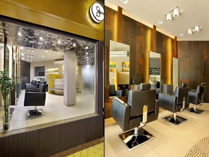 Дизайн интерьера парикмахерского салона Capital в Индии: общий вид