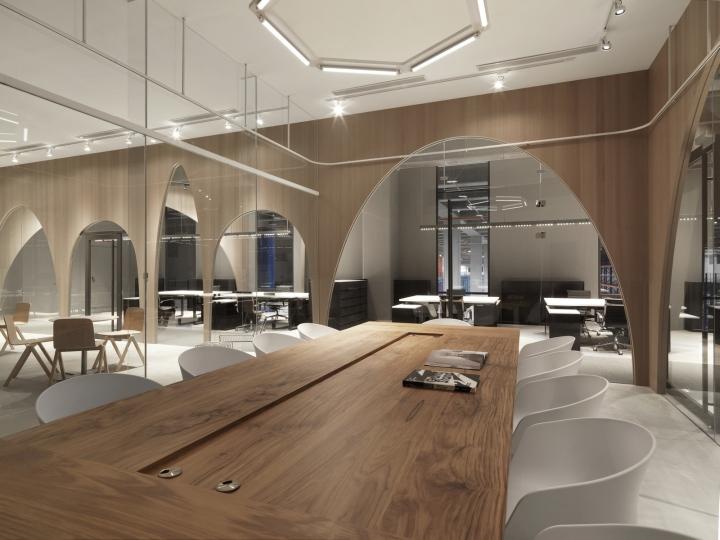 Дизайн интерьера современного офиса: большие зеркала визуально расширяют пространство