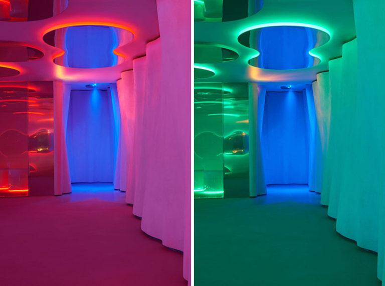 Дизайн интерьера спа салона: красная и зелёная подсветка
