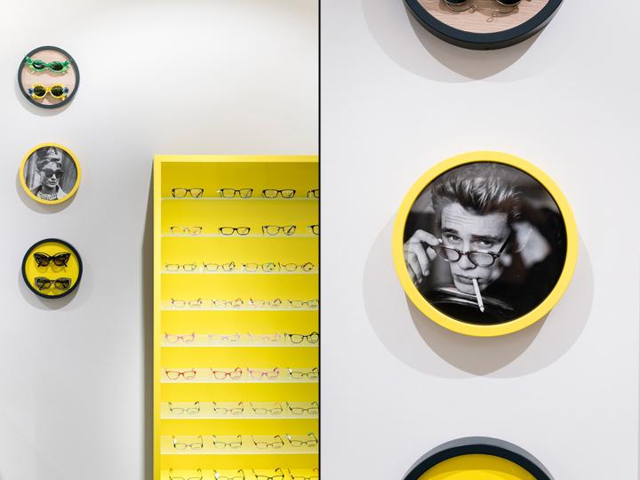 Дизайн магазина очков Binder Optik - желтый цвет в интерьере
