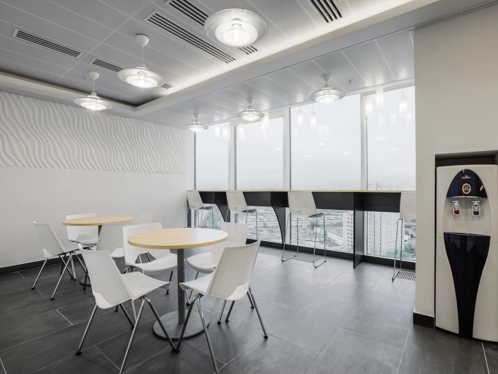 Белые пластиковые стулья на кухне офиса