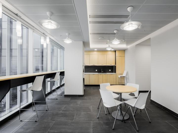 Дизайн светлого гарнитура на кухне в офисе