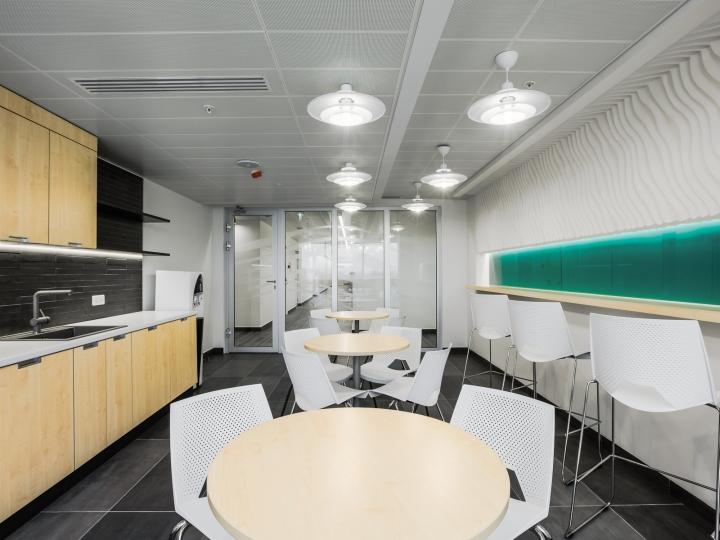 Круглые деревянные столики на кухне в офисе