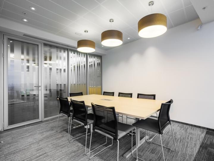 Современные светильники в интерьере офиса банка