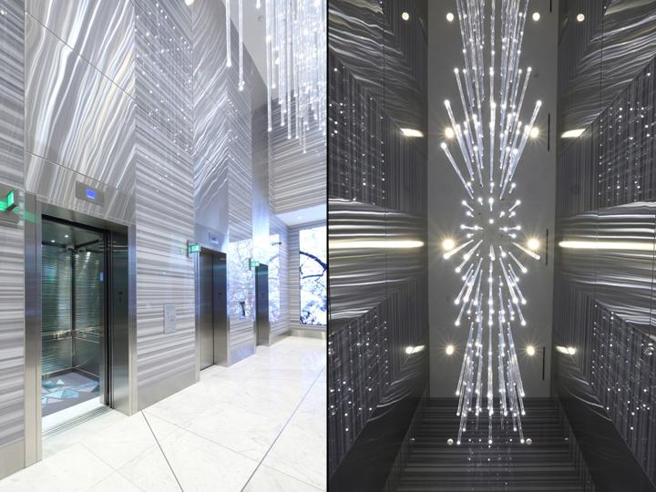 Дизайн освещения офиса от MCM Interiors в Ванкувере - светодиодная скульптура