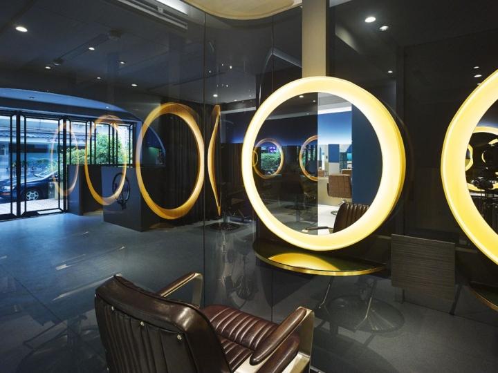 Дизайн парикмахерской: круглые зеркала