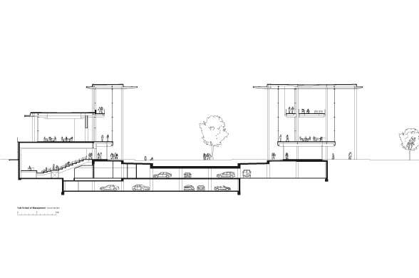 Оригинальный дизайн школы менеджмента Edward P. Evans Hall: чертёж здания