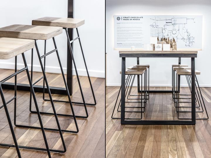 Дизайн фабрики шоколада – Стулья и столы из дерева