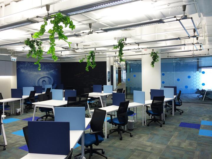 Дизайн штаб-квартиры компании Cyberport Smart-Space в синих тонах