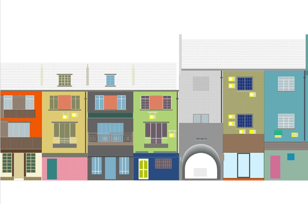 Дизайн спа-салона: арка на фоне соседних зданий