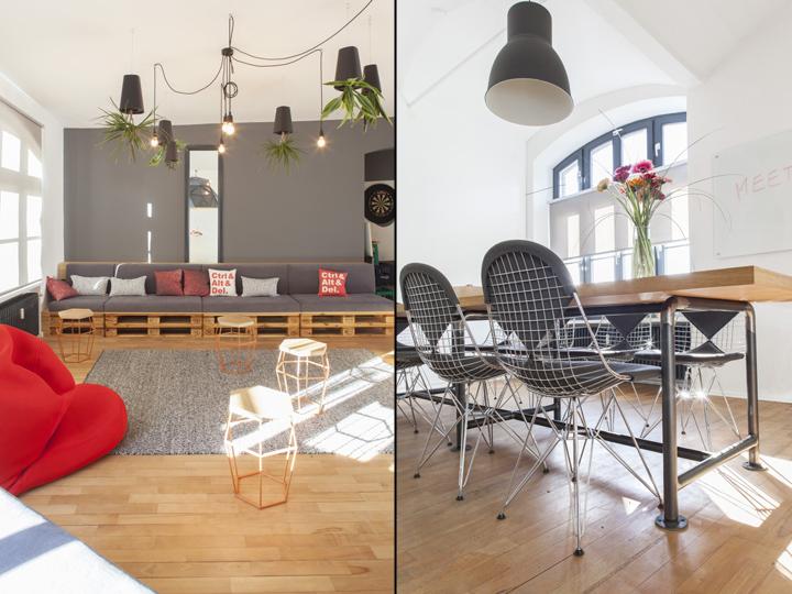 Домашний интерьер офиса - стулья и стол из стали