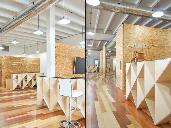 Экологичный интерьер офиса в Монреале - фигурные стойки