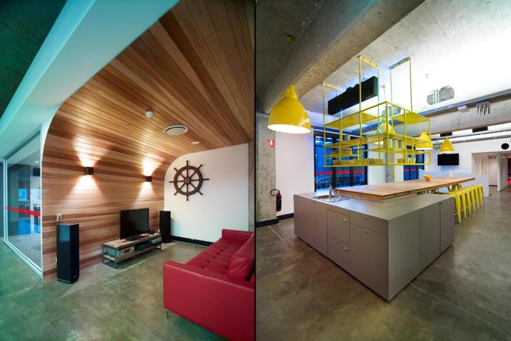 Округлый декор стен комнаты для отдыха корпорации EMI Music