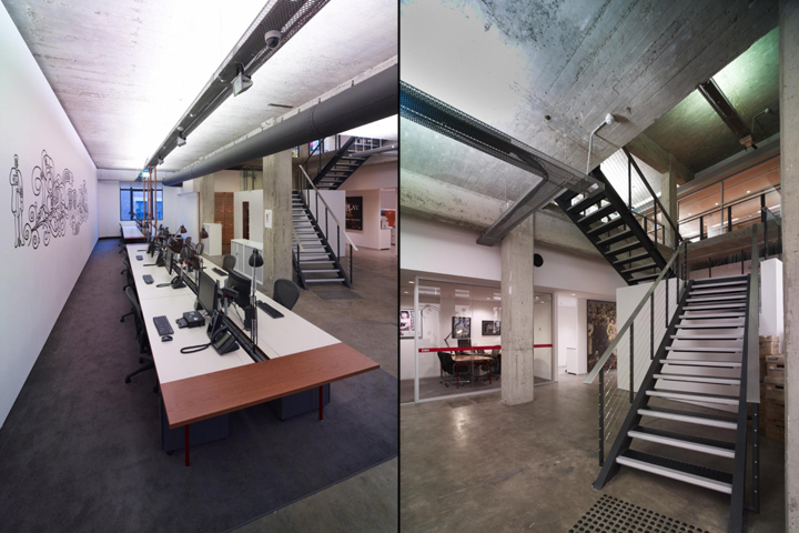 Промышленный характер отделки стен и потолков корпорации EMI Music