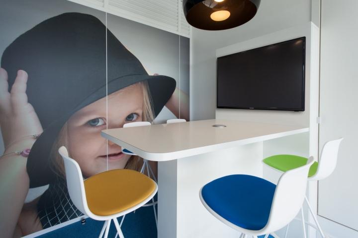 Фото ребенка на стене офиса - разноцветные дизайнерские стулья