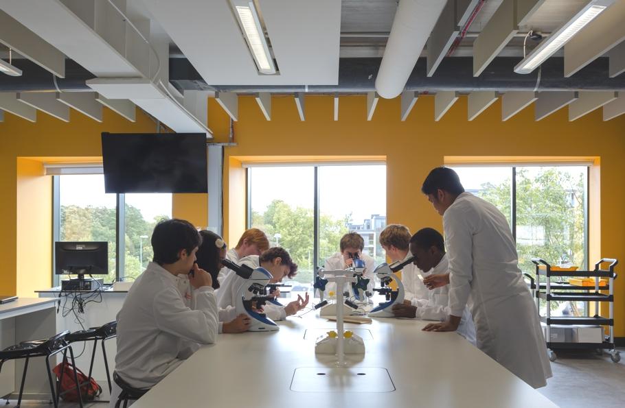 Проведение практических занятий: студенты в лаборатории