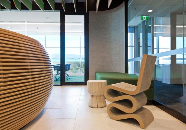 Гармоничный интерьер офиса с оригинальным столиком