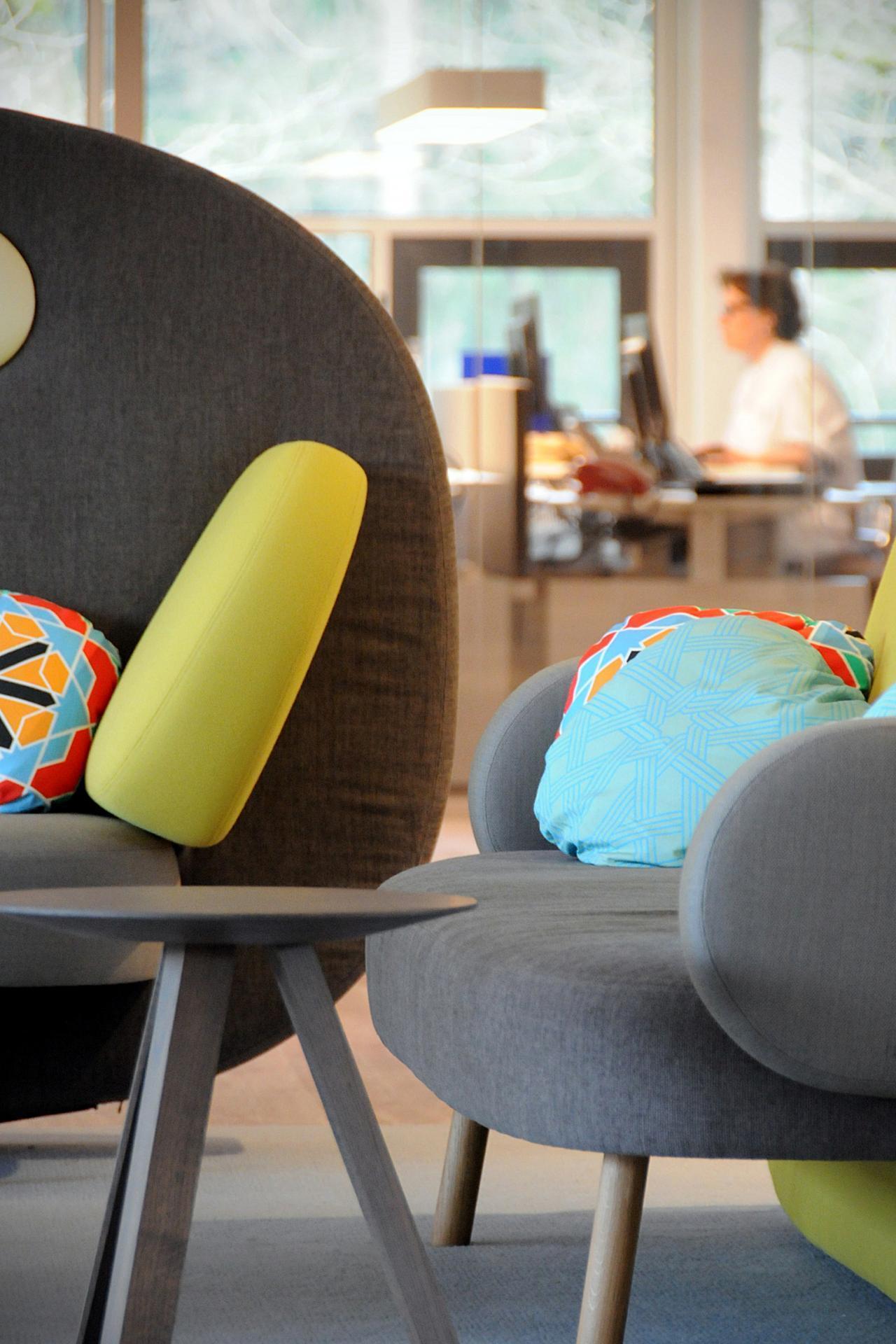 Дизайнерские диваны с яркими подушками в клинике имени Александра Монро